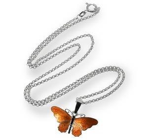 Sidabrinė grandinėlė su emaliuotu pakabuku-drugeliu