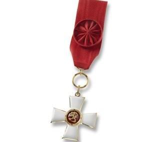 Apdovanojimo ženklas su kaspinu, emaliuotas, paauksuotas